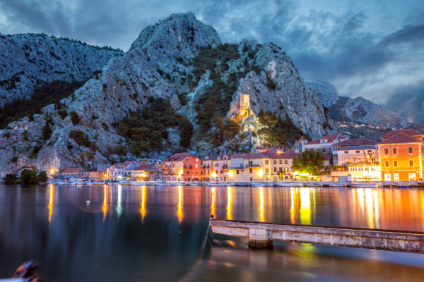 Old coastal town of Omis in Croatia at night